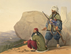 Afghaun foot soldiers in their winter dress, with entrance to the Valley of Urgundeh